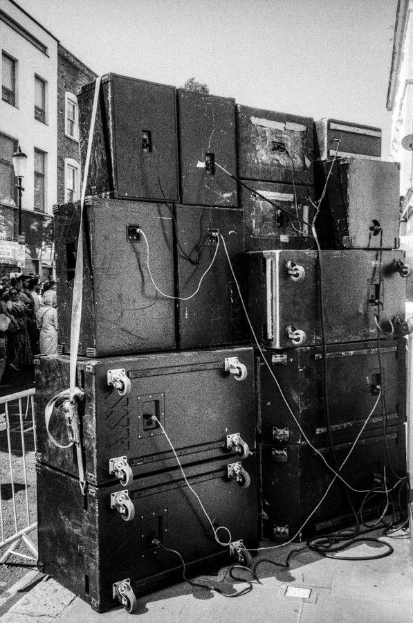 Behind a sound system