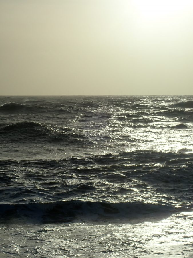Rough sea in the sun