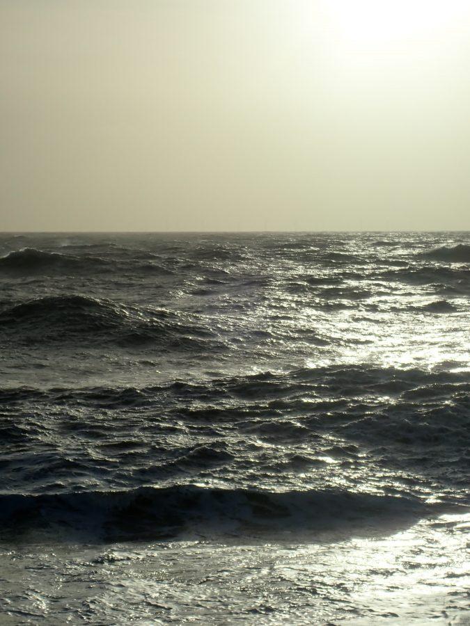 Rough sea in the sun